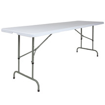 8' Height Adjustable Granite White Plastic Folding Table