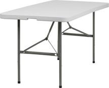 5' Bi-Fold Granite White Plastic Folding Table