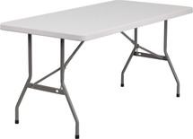 5' 260 lb. Static Load  Granite White Plastic Folding Table