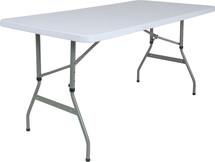 5'H Adjustable Granite White Plastic Folding Table