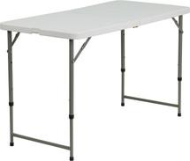 4'H Adjustable Bi-Fold Granite White Plastic Folding Table