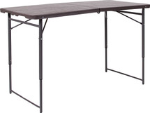 4'H Adjustable Bi-Fold Brown Wood Grain Plastic Folding Table with Carrying Handle