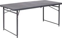 4'H Adjustable Bi-Fold Dark Gray Plastic Folding Table with Carrying Handle