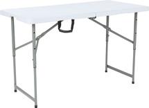 4' H Adjustable Bi-Fold Granite White Plastic Folding Table