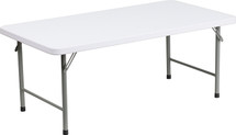 4-Foot Kid's Granite White Plastic Folding Table