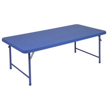 5-Foot Kid's Blue Plastic Folding Table