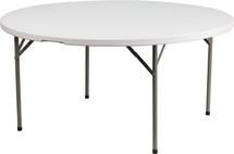 5-Foot 551 lb. Static Load Round Granite White Plastic Folding Table
