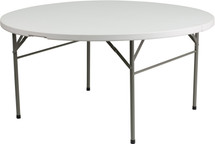 Plastic Folding Table | 5 Foot White Plastic Round Folding Table