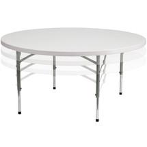 5-Foot Round Height Adjustable Granite White Plastic Folding Table