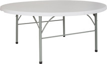 6' Round Bi-Fold Granite White Plastic Banquet and Event Folding Table with Handle