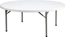 6-Foot 1100 lb. Static Load Round Granite White Plastic Folding Table