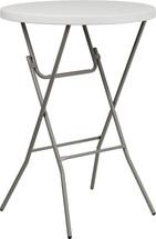 3-Foot Round Granite White Plastic Bar Height Folding Table
