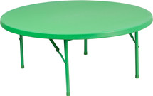 4-Foot Round Kid's Green Plastic Folding Table