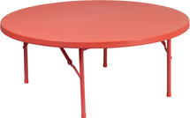 4-Foot Round Kid's Red Plastic Folding Table