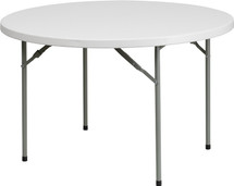 """4-Foot 1.75"""" Thick Round Granite White Plastic Folding Table"""