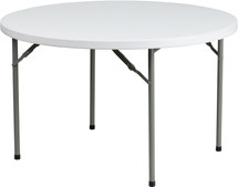 """4-Foot 1.5"""" Thick Round Granite White Plastic Folding Table"""