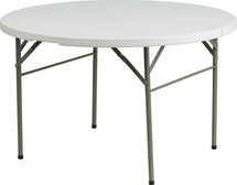 4' Round Bi-Fold Granite White Plastic Banquet and Event Folding Table with Handle