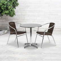 27.5'' Round Aluminum Indoor-Outdoor Table Set with 2 Dark Brown Rattan Chairs