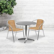 31.5'' Round Aluminum Indoor-Outdoor Table Set with 2 Beige Rattan Chairs