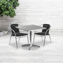 31.5'' Square Aluminum Indoor-Outdoor Table Set with 2 Black Rattan Chairs