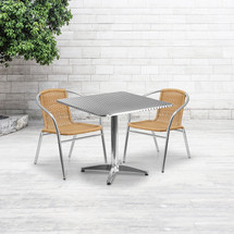31.5'' Square Aluminum Indoor-Outdoor Table Set with 2 Beige Rattan Chairs