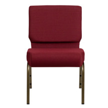 21'' Extra Wide Burgundy Fabric Stacking Church Chair with 4'' Thick Seat - Gold Vein Frame