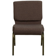 21'' Extra Wide Brown Fabric Stacking Church Chair with 4'' Thick Seat - Gold Vein Frame