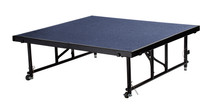 "24"" -32"" Height Adjustable 4' x 4' Transfix Stage Platform, Blue Carpet"
