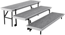 Transport 3-Level Straight Choral Riser, Grey Carpet (18 x 78 )