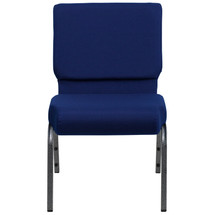 21'' Extra Wide Navy Blue Fabric Stacking Church Chair with 4'' Thick Seat - Silver Vein Frame