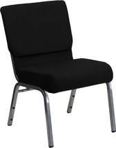 21'' Extra Wide Black Fabric Stacking Church Chair with 3.75'' Thick Seat - Silver Vein Frame
