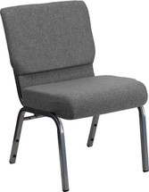 21'' Extra Wide Gray Fabric Stacking Church Chair with 3.75'' Thick Seat - Silver Vein Frame