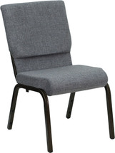 18.5''W Gray Fabric Stacking Church Chair with 4.25'' Thick Seat - Gold Vein Frame