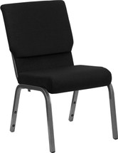 18.5''W Black Fabric Stacking Church Chair with 4.25'' Thick Seat - Silver Vein Frame