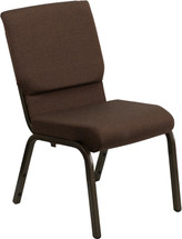 18.5''W Brown Fabric Stacking Church Chair with 4.25'' Thick Seat - Gold Vein Frame
