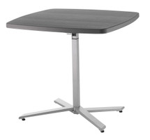 Café Time Adjustable-Height Table, Charcoal Slate Top, Silver Frame