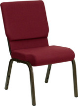 18.5''W Burgundy Fabric Stacking Church Chair with 4.25'' Thick Seat - Gold Vein Frame