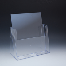 "Clear Countertop Brochure Holder for literature up to 8.5"" wide,  classic slant back"