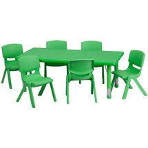 4''W x 48''L Adjustable Rectangular Green Plastic Activity Table Set with 6 School Stack Chairs