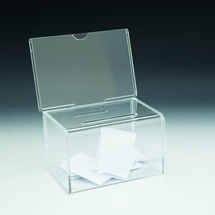 Mini Non-Locking Coin / Ballot Box with Sign Holder