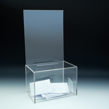 Clear Acrylic Ballot / Suggestion Box with Sign Holder& Pocket
