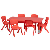 4''W x 48''L Adjustable Rectangular Red Plastic Activity Table Set with 6 School Stack Chairs