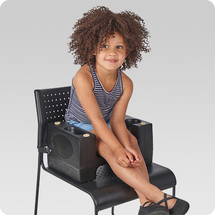 Black Plastic Booster Seat - Dual Height with Safety Strap - 2/Pack