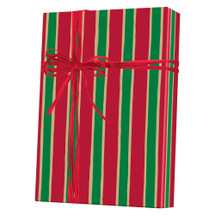 X3154, Christmas Stripe/Kraft - Available 4 widths and 3 roll sizes