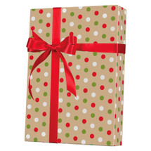 X4020, Dotty Christmas/Kraft - Available 4 widths and 3 roll sizes
