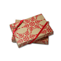 B28132, Pop-Up Gift Card Boxes - Kraft Snowflake (white interior) - 100 Boxes/Pack