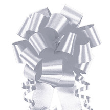"A50337, Flora Satin Perfect Bow, 4"", Silver"