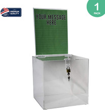 "10"" SQUARE CLEAR ACRYLIC LOCKING BALLOT BOX W/REMOVABLE HEADER"
