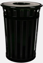 36 Gallon Oakley Outdoor Shopping Center Waste Can, Black, Flat top lid and plastic liner