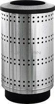 35 Gallon Paramount Perforated Stainless Steel Trash Container (Flat top, plastic liner)